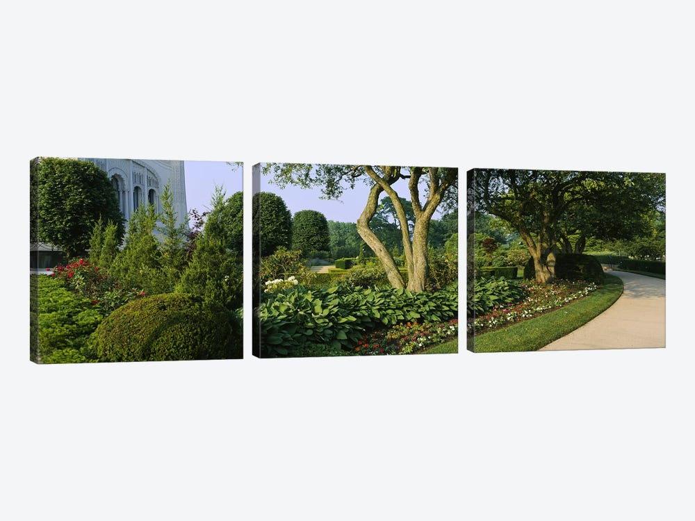 Garden Landscape, Baha'i House Of Worship, Wilmette, New Trier Township, Cook County, Illinois, USA by Panoramic Images 3-piece Canvas Art Print