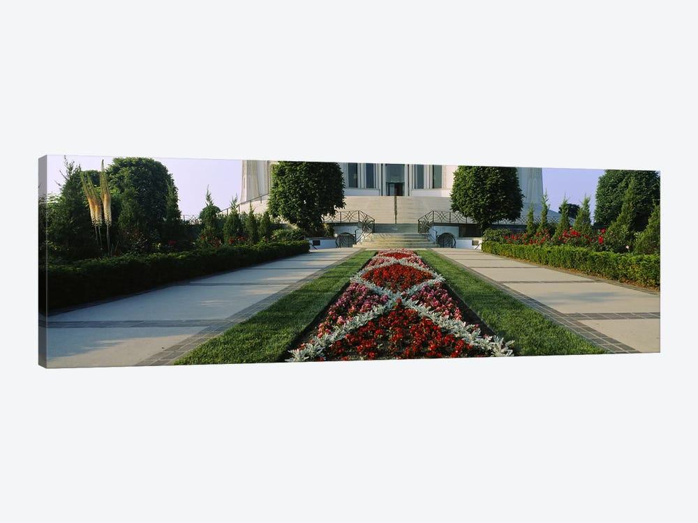 Formal garden in front of a templeBahai Temple Gardens, Bahai House of Worship, Wilmette, New Trier Township, Chicago, Cook Coun by Panoramic Images 1-piece Canvas Wall Art
