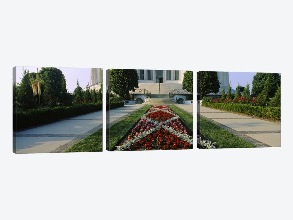 Formal garden in front of a templeBahai Temple Gardens, Bahai House of Worship, Wilmette, New Trier Township, Chicago, Cook Coun by Panoramic Images 3-piece Canvas Art