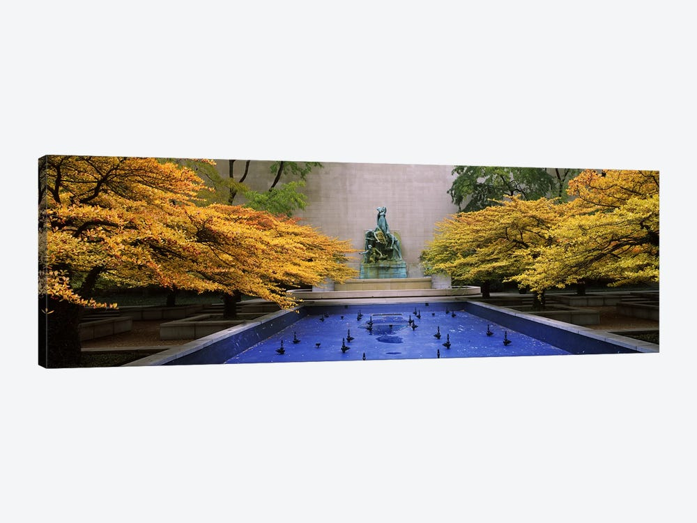 Fountain in a gardenFountain of The Great Lakes, Art Institute of Chicago, Chicago, Cook County, Illinois, USA by Panoramic Images 1-piece Canvas Wall Art