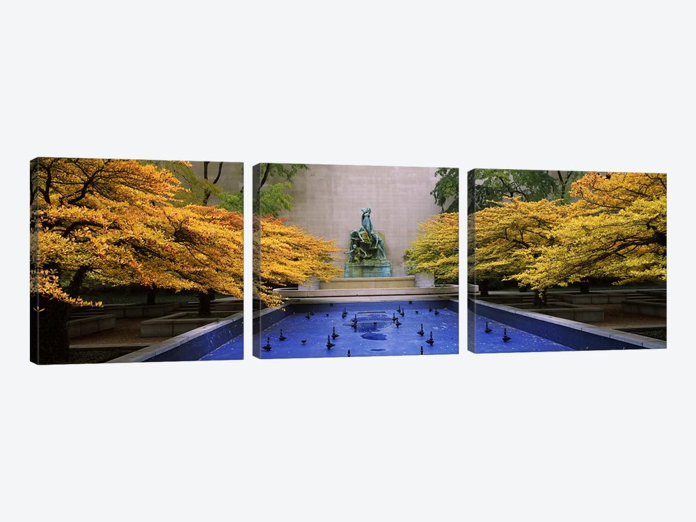 Fountain in a gardenFountain of The Great Lakes, Art Institute of Chicago, Chicago, Cook County, Illinois, USA by Panoramic Images 3-piece Canvas Art