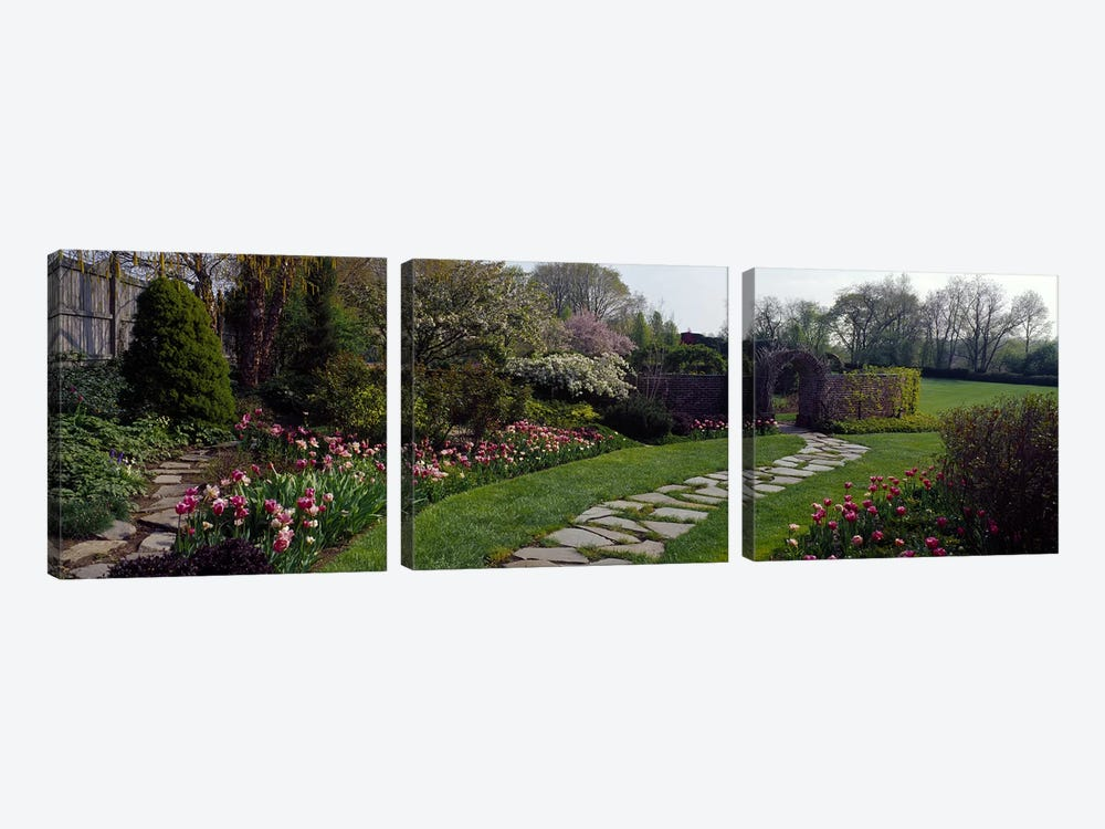 Flowers in a garden, Ladew Topiary Gardens, Monkton, Baltimore County, Maryland, USA by Panoramic Images 3-piece Canvas Wall Art