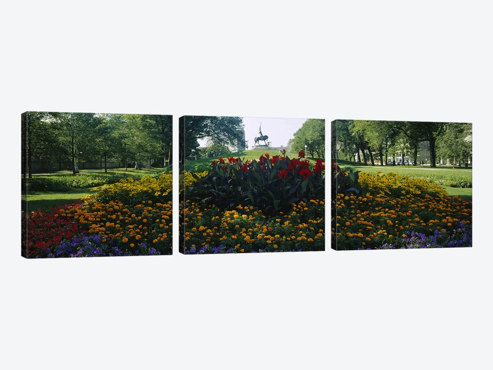 Flowers in a park, Grant Park, Chicago, Cook County, Illinois, USA by Panoramic Images 3-piece Canvas Art Print