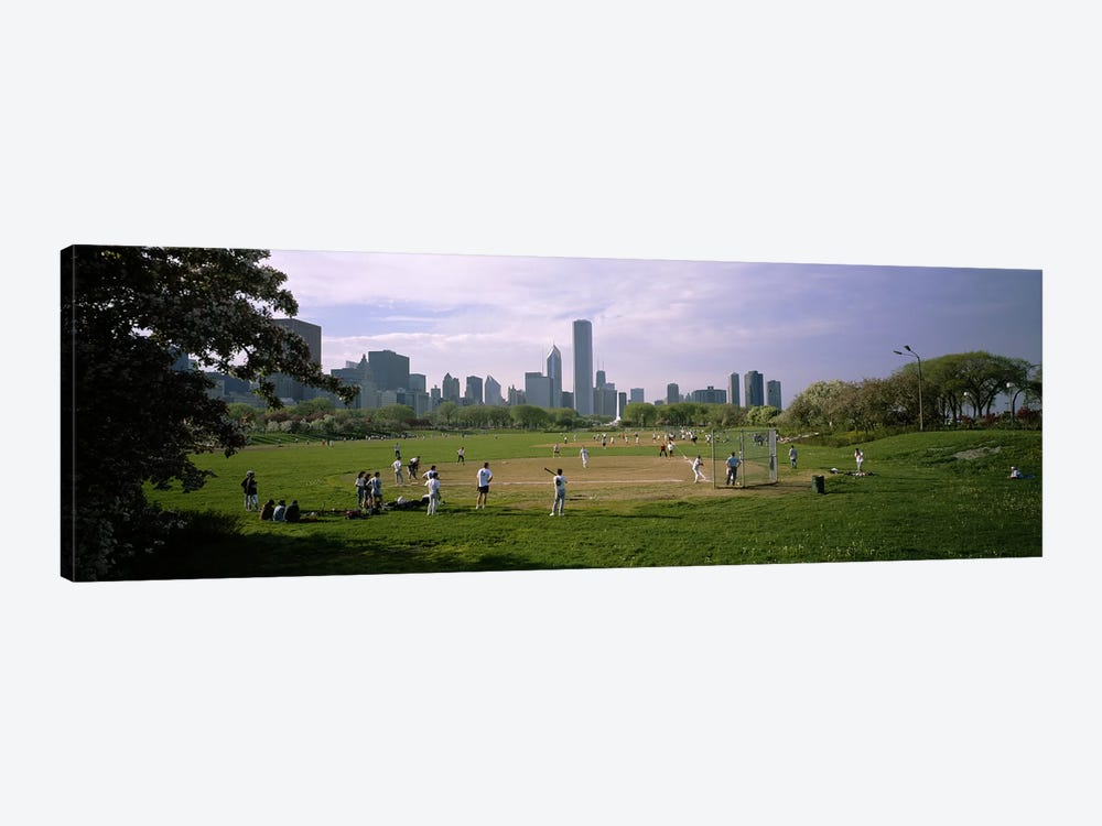 Group of people playing baseball in a park, Grant Park, Chicago, Cook County, Illinois, USA 1-piece Canvas Artwork