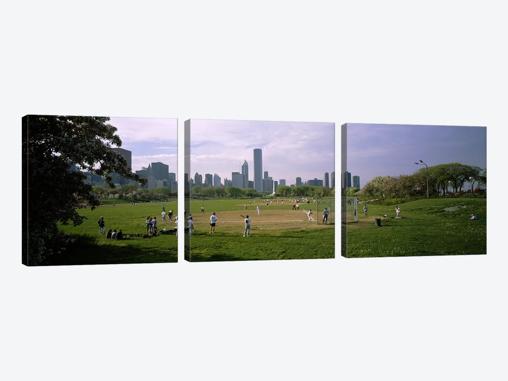 Group of people playing baseball in a park, Grant Park, Chicago, Cook County, Illinois, USA by Panoramic Images 3-piece Canvas Wall Art