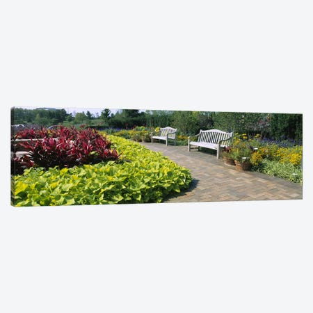 Benches In The Circle Garden, Chicago Botanic Garden, Glencoe, Cook County, Illinois, USA Canvas Print #PIM6543} by Panoramic Images Canvas Art Print