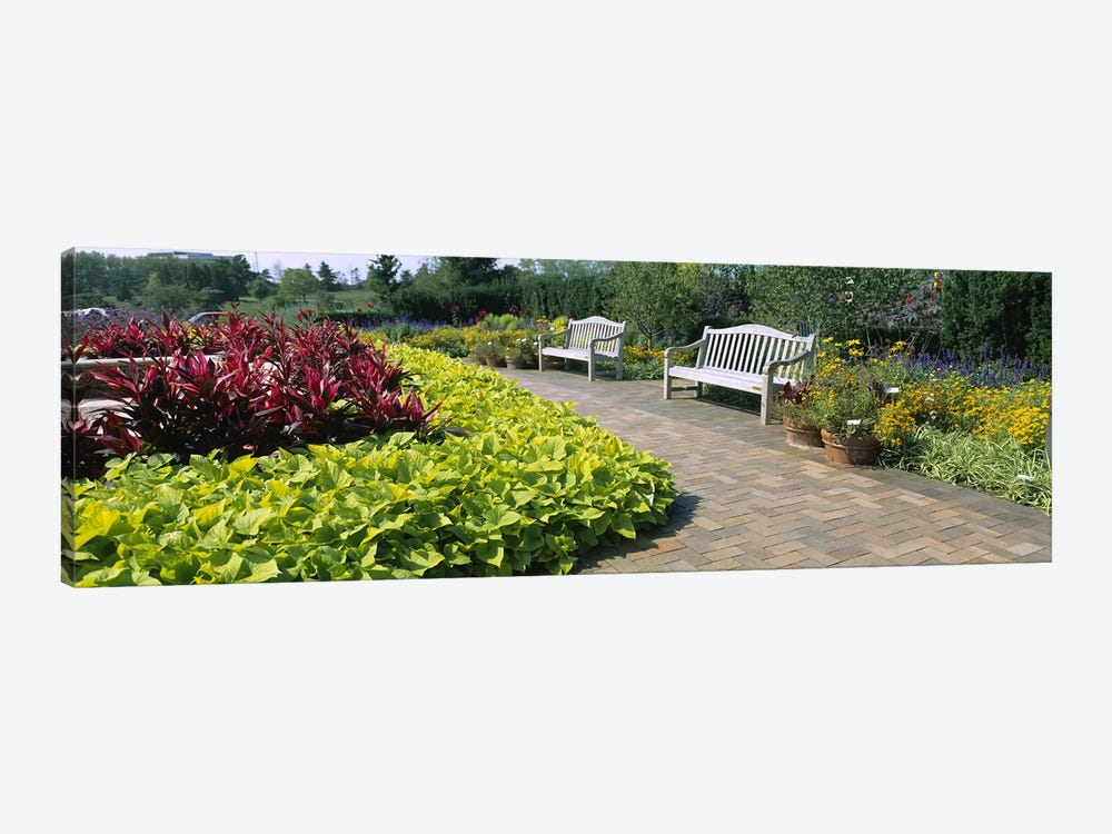 Benches In The Circle Garden, Chicago Botanic Garden, Glencoe, Cook County, Illinois, USA by Panoramic Images 1-piece Canvas Art Print