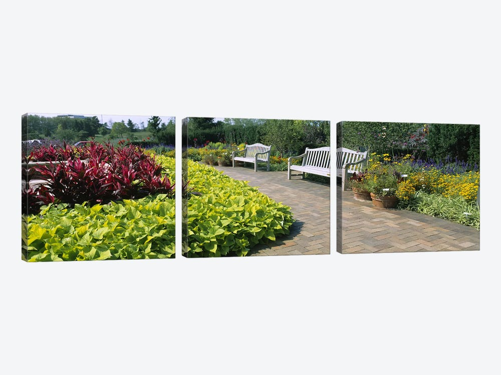 Benches In The Circle Garden, Chicago Botanic Garden, Glencoe, Cook County, Illinois, USA by Panoramic Images 3-piece Art Print