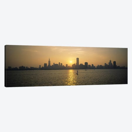 Silhouette of skyscrapers at the waterfront, Chicago, Cook County, Illinois, USA Canvas Print #PIM6547} by Panoramic Images Canvas Art