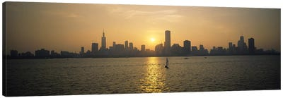 Silhouette of skyscrapers at the waterfront, Chicago, Cook County, Illinois, USA Canvas Print #PIM6547