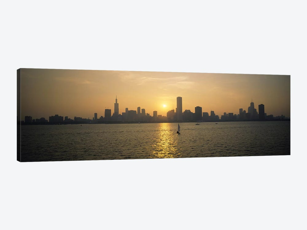 Silhouette of skyscrapers at the waterfront, Chicago, Cook County, Illinois, USA by Panoramic Images 1-piece Canvas Art Print