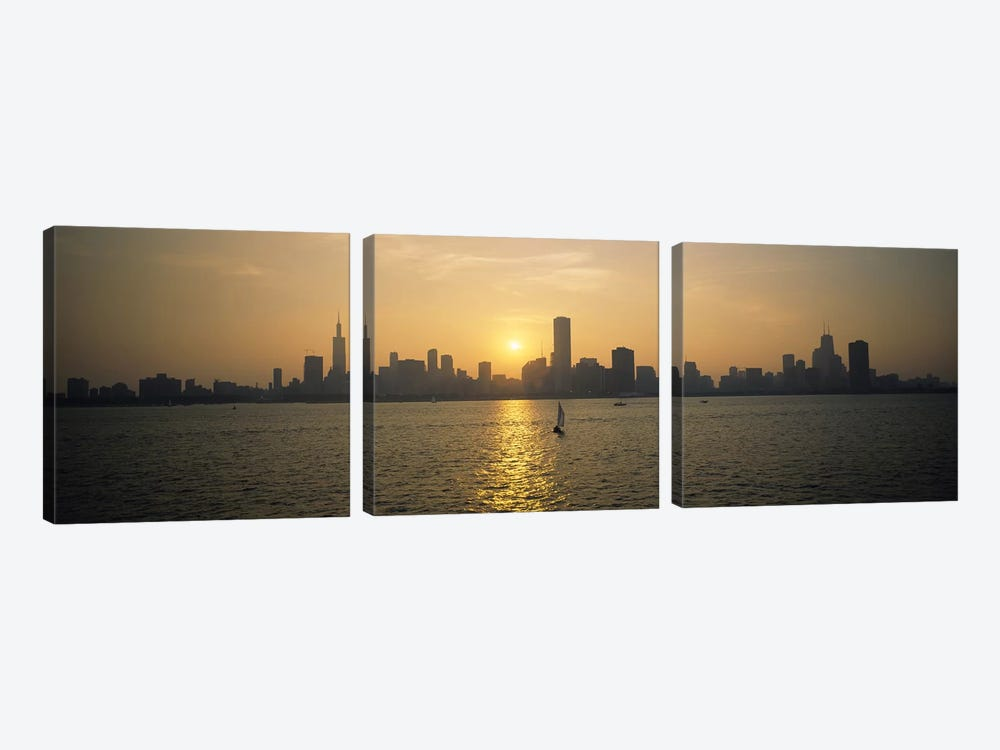 Silhouette of skyscrapers at the waterfront, Chicago, Cook County, Illinois, USA by Panoramic Images 3-piece Art Print