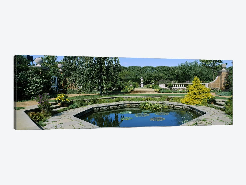 Pond in a botanical garden, English Walled Garden, Chicago Botanic Garden, Glencoe, Cook County Forest Preserves, Cook County, I by Panoramic Images 1-piece Canvas Artwork