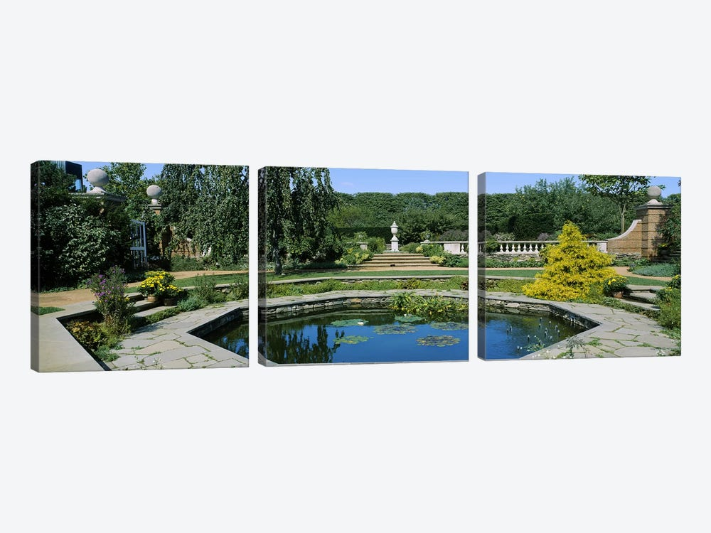 Pond in a botanical garden, English Walled Garden, Chicago Botanic Garden, Glencoe, Cook County Forest Preserves, Cook County, I by Panoramic Images 3-piece Canvas Wall Art