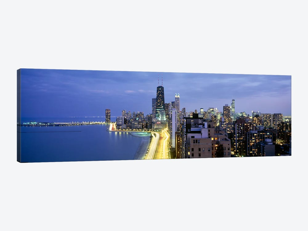 Skyscrapers lit up at the waterfront, Lake Shore Drive, Chicago, Cook County, Illinois, USA by Panoramic Images 1-piece Canvas Print