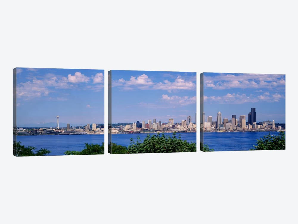 Puget SoundCity Skyline, Seattle, Washington State, USA by Panoramic Images 3-piece Canvas Art Print