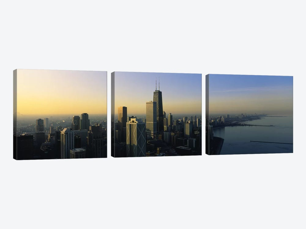 Buildings at the waterfront, Chicago, Cook County, Illinois, USA by Panoramic Images 3-piece Canvas Print