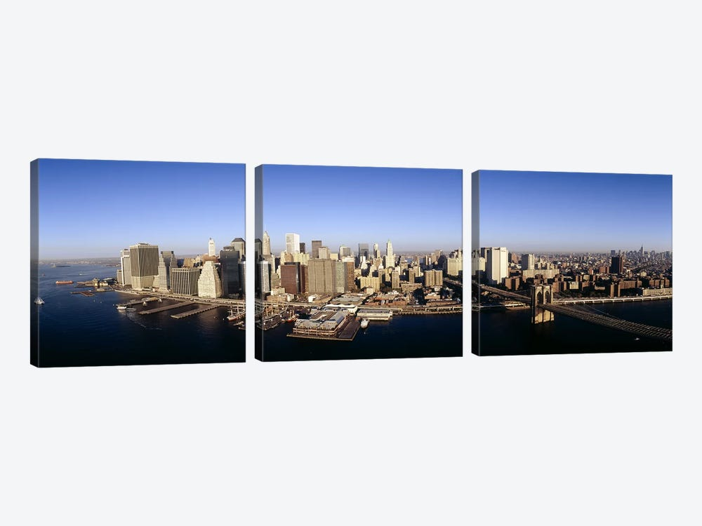 Aerial view of a cityscape, Manhattan, New York City, New York State, USA by Panoramic Images 3-piece Canvas Wall Art