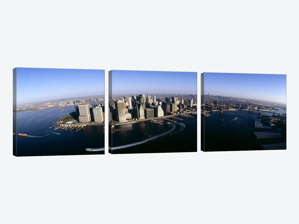 Aerial view of a cityscape, Manhattan, New York City, New York State, USA #2 by Panoramic Images 3-piece Canvas Art Print