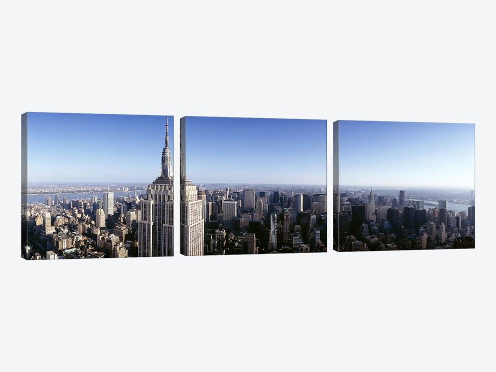 Aerial view of a cityscape, Empire State Building, Manhattan, New York City, New York State, USA 3-piece Canvas Art