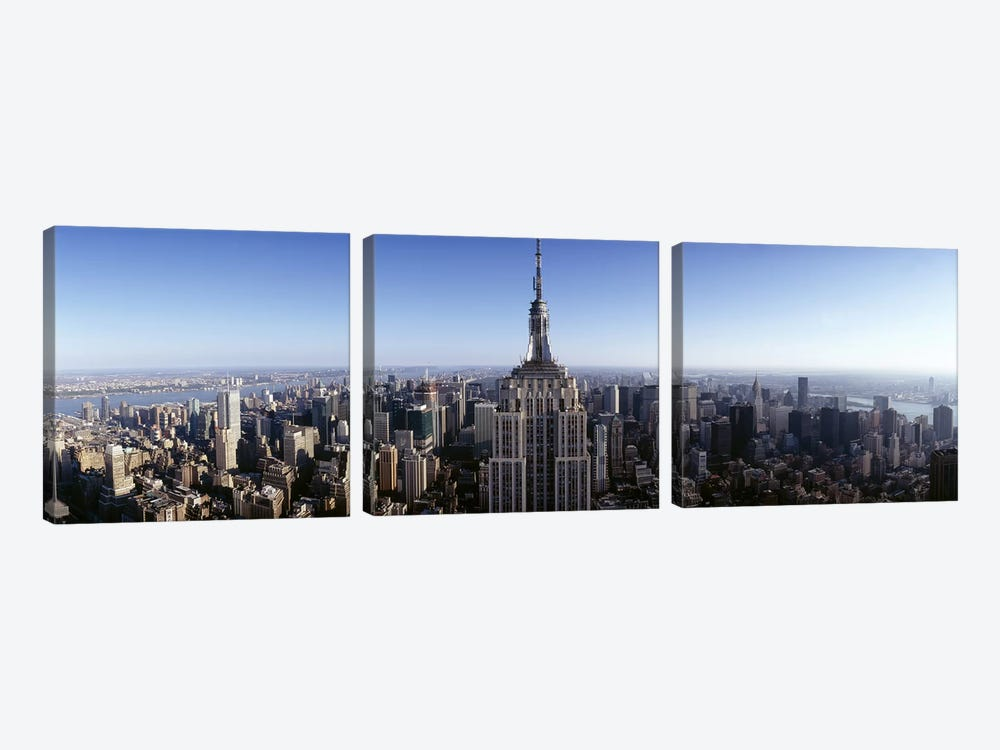 Aerial view of a cityscape, Empire State Building, Manhattan, New York City, New York State, USA #2 by Panoramic Images 3-piece Canvas Art Print