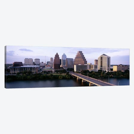 Skylines in a city, Lady Bird Lake, Colorado River, Austin, Travis County, Texas, USA Canvas Print #PIM6556} by Panoramic Images Art Print