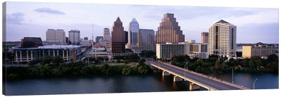 Skylines in a city, Lady Bird Lake, Colorado River, Austin, Travis County, Texas, USA Canvas Art Print