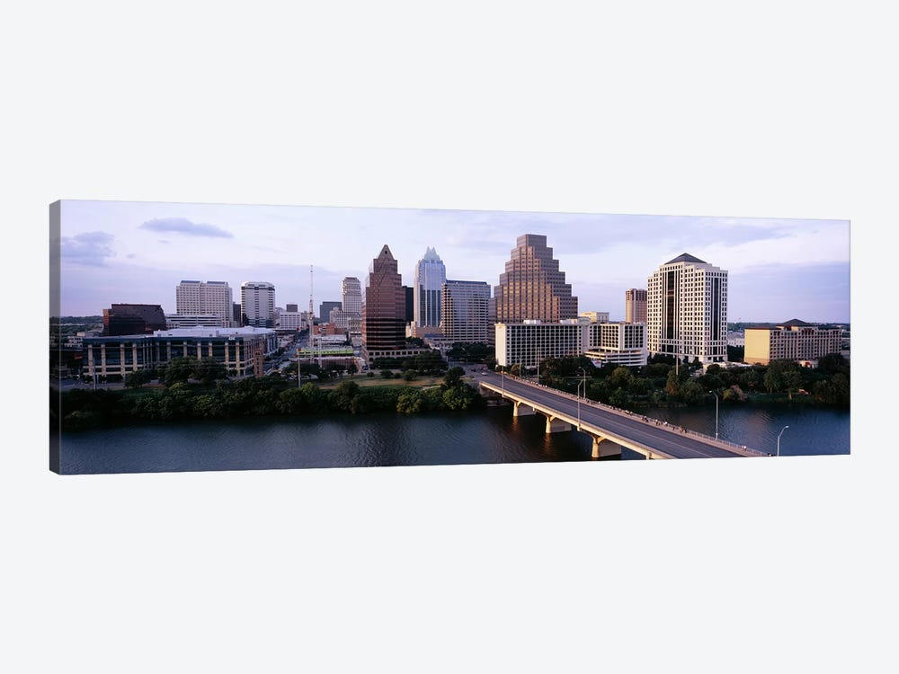 Skylines in a city, Lady Bird Lake, Colorado River, Austin, Travis County, Texas, USA by Panoramic Images 1-piece Art Print