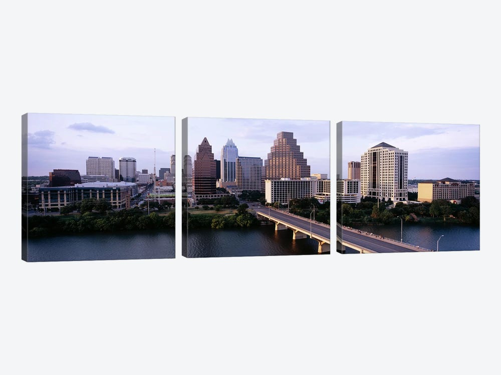 Skylines in a city, Lady Bird Lake, Colorado River, Austin, Travis County, Texas, USA by Panoramic Images 3-piece Canvas Art Print