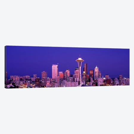 USAWashington, Seattle, night Canvas Print #PIM655} by Panoramic Images Canvas Wall Art