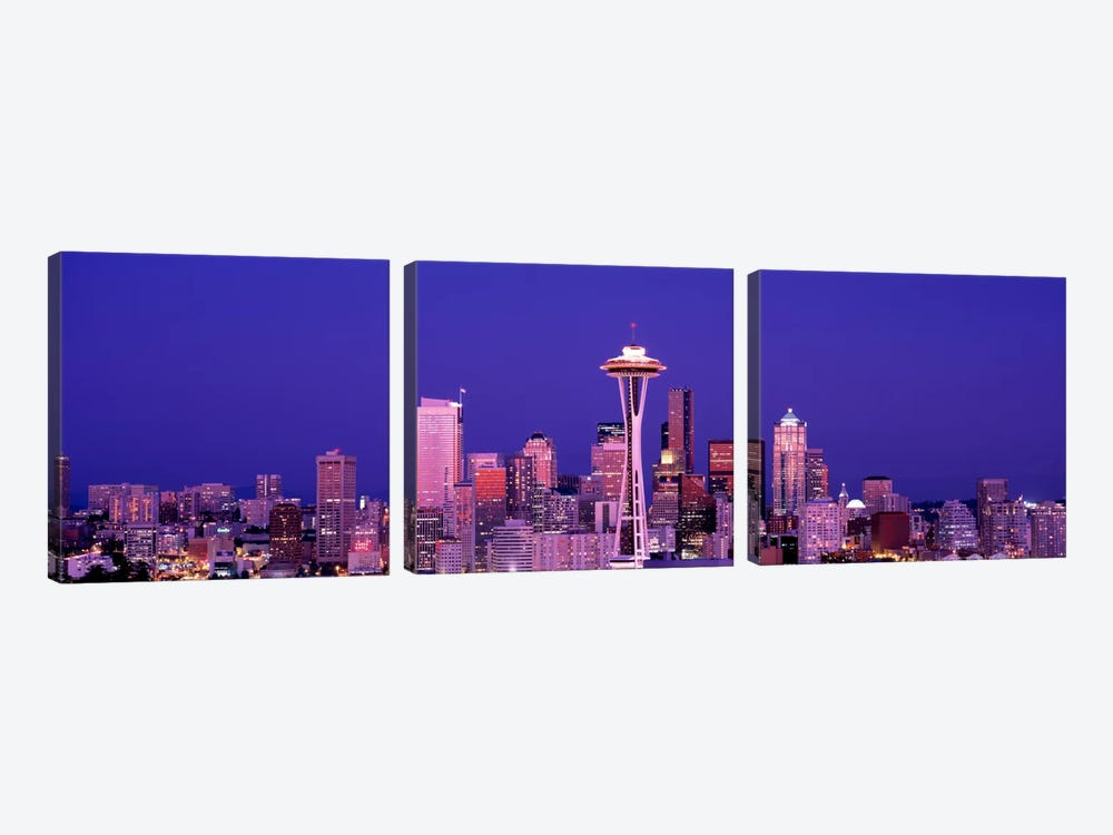 USAWashington, Seattle, night by Panoramic Images 3-piece Canvas Wall Art