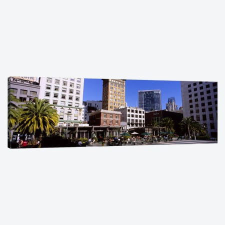 Low angle view of buildings at a town square, Union Square, San Francisco, California, USA Canvas Print #PIM6562} by Panoramic Images Canvas Print