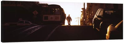 Cable car on the tracks at sunset, San Francisco, California, USA Canvas Art Print