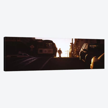 Cable car on the tracks at sunset, San Francisco, California, USA Canvas Print #PIM6578} by Panoramic Images Canvas Wall Art