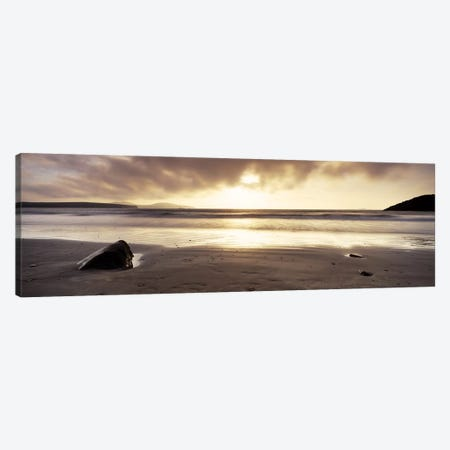 Seascape Sunset, Pembrokeshire, Wales, United Kingdom 3-Piece Canvas #PIM6579} by Panoramic Images Canvas Art