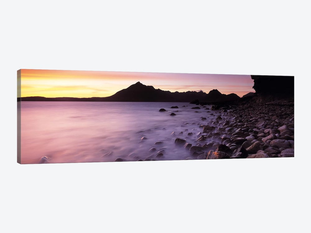 Silhouette Of Cuillin (Black Cuillin) At Dusk As Seen From Elgol, Isle Of Skye, Highlands, Scotland by Panoramic Images 1-piece Canvas Print