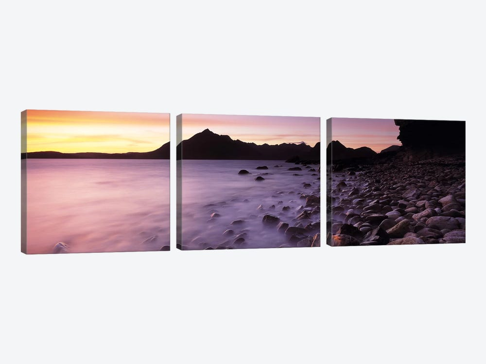 Silhouette Of Cuillin (Black Cuillin) At Dusk As Seen From Elgol, Isle Of Skye, Highlands, Scotland by Panoramic Images 3-piece Canvas Print