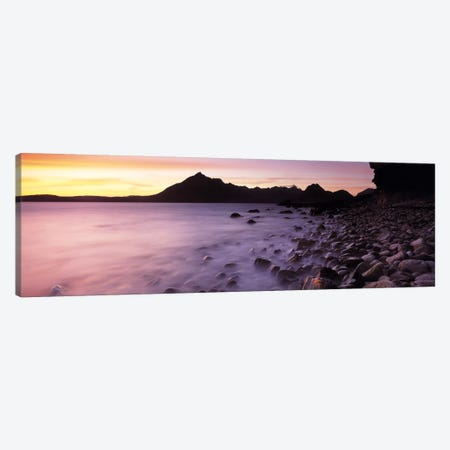 Silhouette Of Cuillin (Black Cuillin) At Dusk As Seen From Elgol, Isle Of Skye, Highlands, Scotland Canvas Print #PIM6587} by Panoramic Images Canvas Wall Art