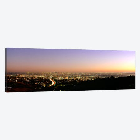 Aerial view of buildings in a city at dusk from Hollywood HillsHollywood, City of Los Angeles, California, USA Canvas Print #PIM658} by Panoramic Images Art Print