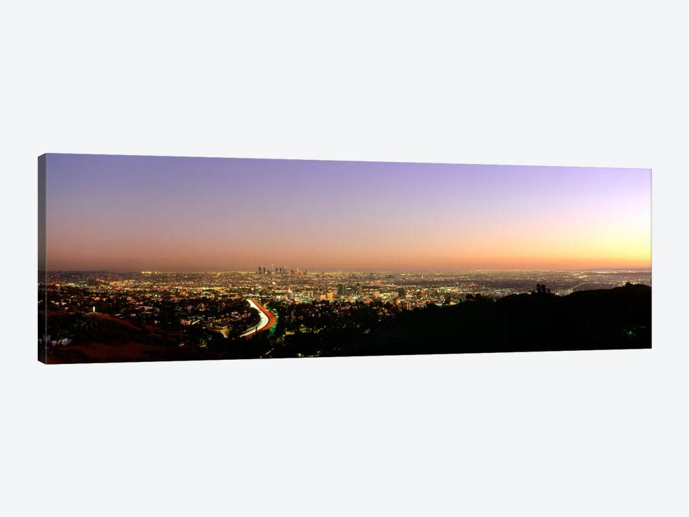 Aerial view of buildings in a city at dusk from Hollywood HillsHollywood, City of Los Angeles, California, USA by Panoramic Images 1-piece Art Print