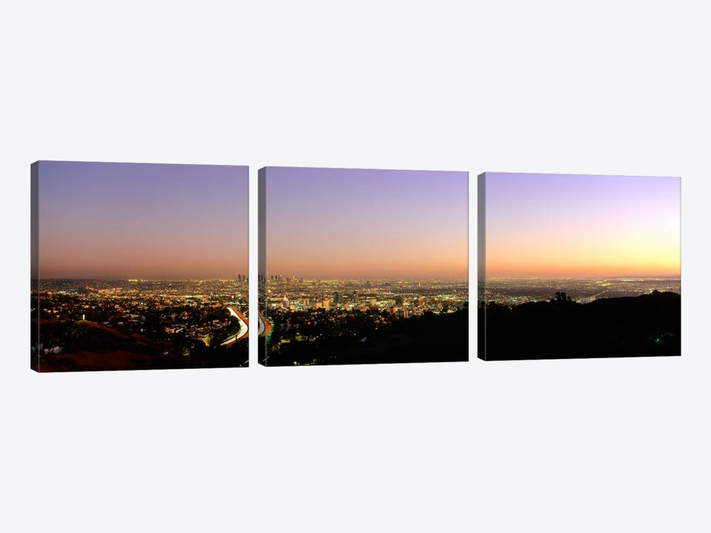 Aerial view of buildings in a city at dusk from Hollywood HillsHollywood, City of Los Angeles, California, USA by Panoramic Images 3-piece Canvas Art Print