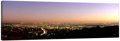Aerial view of buildings in a city at dusk from Hollywood HillsHollywood, City of Los Angeles, California, USA Canvas Art Print