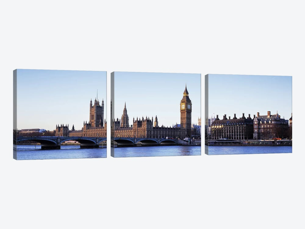 Government Buildings Along The River Thames, London, England, United Kingdom 3-piece Canvas Art Print