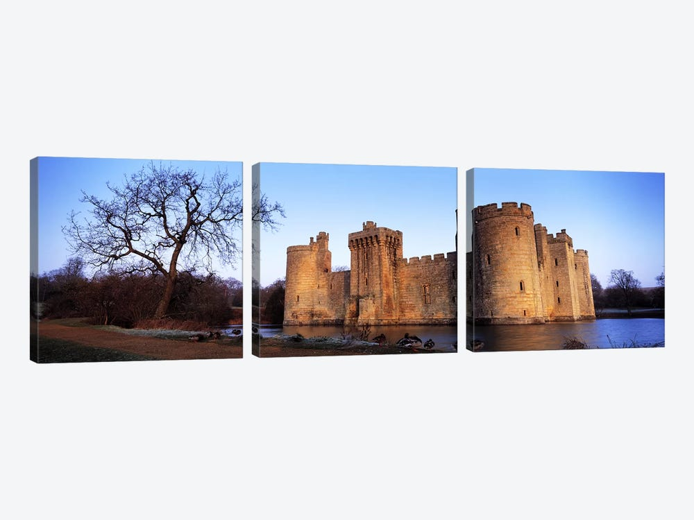 Moat around a castle, Bodiam Castle, East Sussex, England by Panoramic Images 3-piece Canvas Art Print