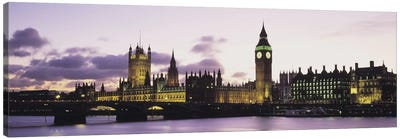Buildings lit up at duskBig Ben, Houses of Parliament, Thames River, City of Westminster, London, England Canvas Art Print