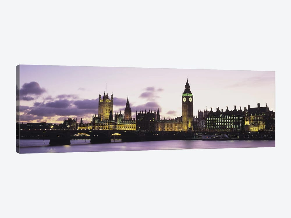 Buildings lit up at duskBig Ben, Houses of Parliament, Thames River, City of Westminster, London, England by Panoramic Images 1-piece Canvas Wall Art