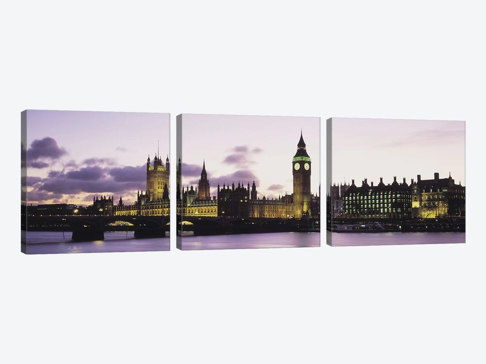 Buildings lit up at duskBig Ben, Houses of Parliament, Thames River, City of Westminster, London, England by Panoramic Images 3-piece Canvas Wall Art