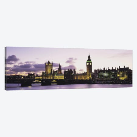 Buildings lit up at duskBig Ben, Houses of Parliament, Thames River, City of Westminster, London, England Canvas Print #PIM6595} by Panoramic Images Canvas Print
