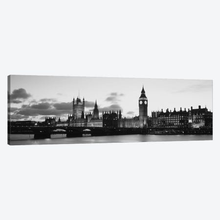 Buildings lit up at dusk, Big Ben, Houses of Parliament, Thames River, City of Westminster, London, England (black & white) Canvas Print #PIM6595bw} by Panoramic Images Canvas Art