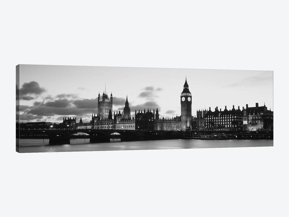 Buildings lit up at dusk, Big Ben, Houses of Parliament, Thames River, City of Westminster, London, England (black & white) by Panoramic Images 1-piece Canvas Wall Art